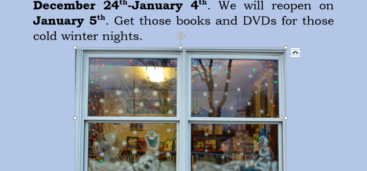 Prattsburg Free Library will be closed from December 24th to January 4th.